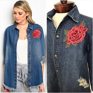 Rose Patch Distressed Denim Jacket Shirt